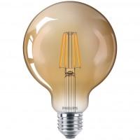 Bec LED filament Philips glob G93 E27 4W 400lm lumina calda 2500 K, auriu