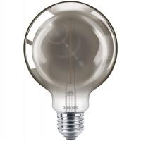 Bec LED filament Philips glob G93 E27 2W 136lm lumina calda 2700 K, fumuriu