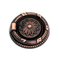 Buton pentru mobila, cu inel tragator, zamac, cupru antic, 45 mm