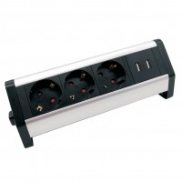 Prelungitor mobilier Hoff Line, 3 prize cu contact protectie si 2 prize USB 5V 2.1A, 4000W