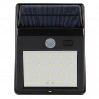Aplica solara LED Hoff, 2.5W, 160lm, lumina rece, cu senzor de miscare, 2 moduri de iluminare