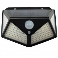 Aplica solara LED Hoff, 4W, 280 lm, cu senzor de miscare, 3 moduri de iluminare, lumina rece