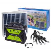 Sistem solar 12V / 17Ah, 30W, 6 becuri LED x 5W, SD, USB + radio FM / AM, 4 x USB 5V