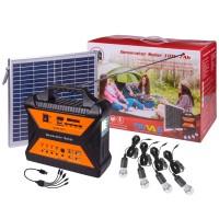 Sistem solar 12V / 7Ah, 10W, 4 becuri LED x 3W, SD, UBS + radio FM / AM, 4 USB 5V