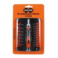 Set surubelnita precizie si 17 accesorii insurubare, Holzer 536218
