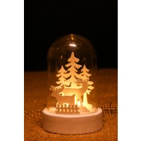 Decoratiune Craciun cupola Hoff, 10 cm, 1 LED cu lumina calda, alimentare baterii, diverse modele