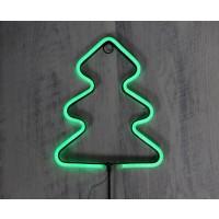 Decoratiune brad LED neon, Hoff, H 60 cm, alimentare baterii, interior / exterior