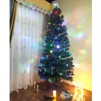 Brad artificial fibra optica de Craciun, Hoff, cu 145 LED-uri multicolore, flash, 250 cm
