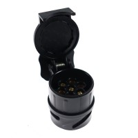 Adaptor priza pentru remorca auto, plastic, negru, 13/7 pini
