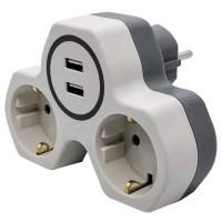 Adaptor 2 prize Hoff Line, 16A + 2 USB