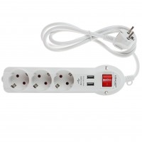 Prelungitor Lohuis 3 prize + 2 x USB, 1.5 m, 3500W, 3 x 1.5 mmp, contact de protectie, intrerupator