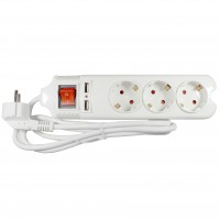 Prelungitor Lohuis 3 prize + 2 x USB, 1.5 m, 3500W, 3 x 1.5 mmp, contact de protectie, intrerupator, indicator luminos