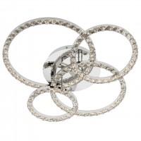 Plafoniera LED Nunzia 01-2172, 49W, 3038 lm, lumina calda, crom + decoratiuni din cristal transparent
