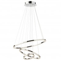 Suspensie LED Nunzia 01-2173, 54W, 3402 lm, lumina calda, crom + decoratiuni din cristal transparent