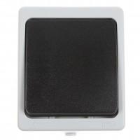 Intrerupator simplu Hoff Cubik, aparent, 10A, IP54, gri + negru