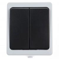 Intrerupator dublu Hoff Cubik, aparent, 10A, IP54, gri + negru