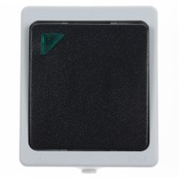 Intrerupator simplu cu indicator luminos Hoff Cubik, aparent, 10A, IP54, gri + negru