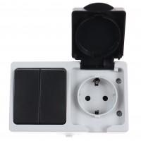Priza simpla + intrerupator dublu Hoff Cubik, cu capac, aparenta, contact de protectie, 16A, IP54, gri + negru