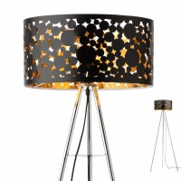 Lampadar Melia 01-2141, 1 x E27, crom + negru - auriu