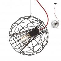 Suspensie Gallileo 01-2174, 1 x E27, neagra, cablu rosu