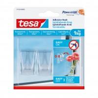 Carlig adeziv, transparent, Tesa, 1 kg, set 2 bucati