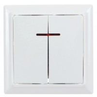 Intrerupator dublu cu indicator luminos Hoff Soft, incastrat, rama inclusa, 10A, 86 x 86 mm, alb