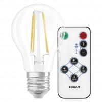 Bec LED filament Osram clasic A E27 7W 806lm lumina calda 2700 K, dimabil prin telecomanda