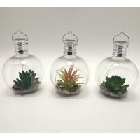 Lampa solara 3 LED-uri alb cald Hoff, glob cu plante, diverse modele