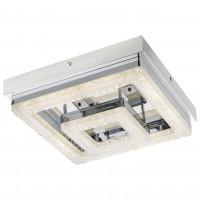 Plafoniera LED Fogo 49246-16, 16W, 950lm, lumina neutra, inox + alb + decoratiuni transparente