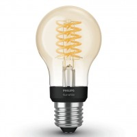 Bec inteligent LED Philips Hue clasic A60 E27 7W 550lm lumina calda 2100 K, Wi-Fi, dimabil, cu filament