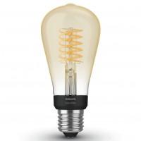 Bec inteligent LED Philips Hue clasic ST64 E27 7W 550lm lumina calda 2100 K, Wi-Fi, dimabil, cu filament