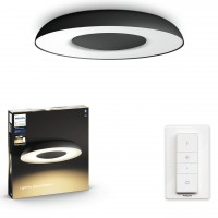 Plafoniera LED Philips Hue Still 3261330P6, 27W, 2400lm, lumina calda / rece, dimabila, kit cu intrerupator, neagra