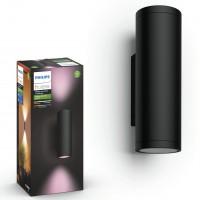 Aplica LED RGB Philips Hue Appear 1746330P7, 2 x 8W, 1200lm, lumina calda / rece / multicolora, dimabila, IP44, neagra