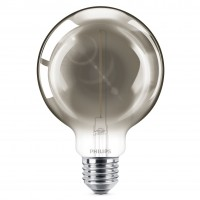 Bec LED filament Philips glob G93 E27 2W 100lm lumina calda 1800 K, fumuriu