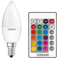 Bec LED color Osram lumanare B25 E14 4.5W 250lm lumina calda / RGB 2700 K, dimabil + telecomanda