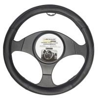 Husa auto pentru volan Dunlop, piele sintetica, D 37 - 39 cm, negru