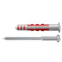 Diblu pentru fixarea obiectelor sanitare, din nylon, 6 x 38 mm, Fischer Duoseal, cu surub, 4.5 x 60 mm, cu cap bombat, TX 20, din inox