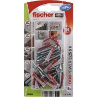 Diblu universal, din nylon, 5 x 25 mm, Fischer Duopower, cu surub, 3.5 x 35 mm, cu cap inecat, PZ2, set 18 bucati