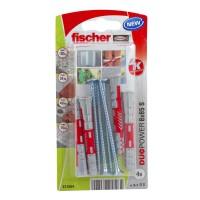 Diblu universal, din nylon, 8 x 65 mm, Fischer Duopower, cu surub, 5 x 80 mm, cu cap inecat, PZ2, set 4 bucati