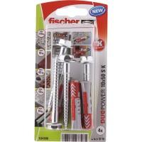 Diblu universal, din nylon, 10 x 50 mm, Fischer Duopower, cu surub, 7 x 69 mm, cu cap hexagonal, TX40, set 4 bucati