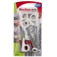 Diblu pentru agatari obiecte, din nylon, 6 x 30 mm, Fischer Duopower EasyHook Loop 6 Washer, cu carlig ochi deschis, 4 x 70 mm, set 6 bucati
