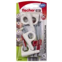 Diblu pentru agatari obiecte, din nylon, 8 x 40 mm, Fischer Duopower EasyHook Loop 8 Washer, cu carlig ochi deschis, 5 x 80 mm, set 4 bucati