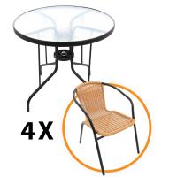 Set masa G008, metal + sticla + 4 scaune G008/ZR2139, metal + polietilena, pentru gradina