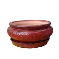 Ghiveci ceramic, bol mexican mijlociu, rotund, 18 x 10 cm