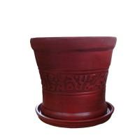 Ghiveci ceramic antic mic, rotund, 22 x 22 cm