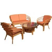 Set masa cu 2 scaune + canapea cu perne pentru gradina Iguana 211M din ratan natural
