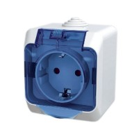 Priza simpla Schneider Electric Cedar Plus WDE000543, aparenta, cu capac, contact de protectie, alba