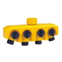 Adaptor robinet - furtun pentru irigatii gradina, 4 iesiri, filet interior, polipropilena, DY8004