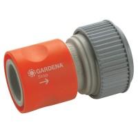 Conector furtun Gardena 18214 50, cu aquastop, plastic, 3/4 inch