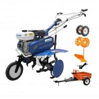 Motocultor pe benzina Gigant 6048, 7 CP, 3 viteze + accesorii + remorca Ruris 450S